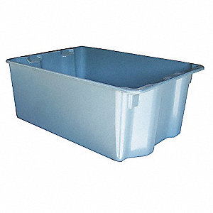 "Stack and Nest Container, Gray, 10""H x 25-1/4""L x 18""W, 1EA"