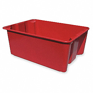 "Stack and Nest Container, Red, 10""H x 25-1/4""L x 18""W, 1EA"