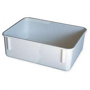 "Nesting Container, White, 11-3/4"" Outside Length, 8-3/4"" Outside Width, 4-1/8"" Outside Height"