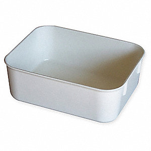 "Nesting Container, White, 6-1/8"" Outside Length, 4-7/8"" Outside Width, 2-1/8"" Outside Height"
