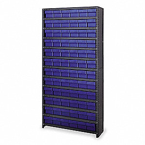 "Enclosed Bin Shelving,75"" H,72 Bins,Blue"