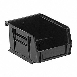 "Hang and Stack Bin, Black, 5-3/8"" Outside Length, 4-1/8"" Outside Width, 3"" Outside Height"