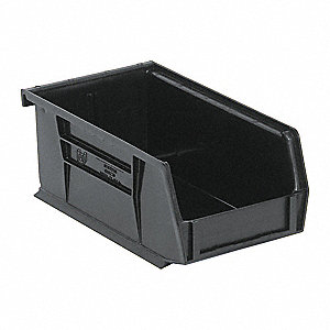 "Hang and Stack Bin, Black, 7-3/8"" Outside Length, 4-1/8"" Outside Width, 3"" Outside Height"