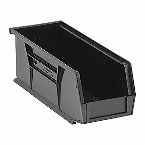 "Hang and Stack Bin, Black, 10-7/8"" Outside Length, 4-1/8"" Outside Width, 4"" Outside Height"