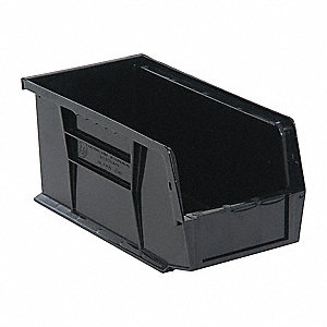 "Hang and Stack Bin, Black, 10-7/8"" Outside Length, 5-1/2"" Outside Width, 5"" Outside Height"