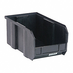 "Hang and Stack Bin, Black, 14-3/4"" Outside Length, 8-1/4"" Outside Width, 7"" Outside Height"