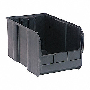"Hang and Stack Bin, Black, 18"" Outside Length, 11"" Outside Width, 10"" Outside Height"