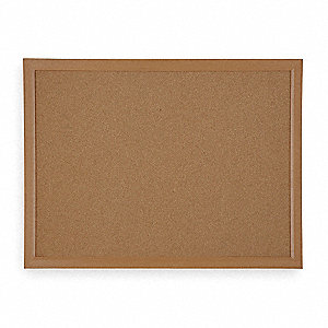 "Natural Cork Bulletin Board, Wood Frame Material, 48"" Width, 36"" Height"