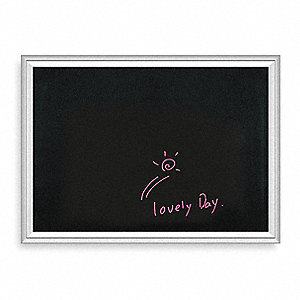 "Gloss-Finish Steel Dry Erase Board, Wall Mounted, 18""H x 24""W, Black"