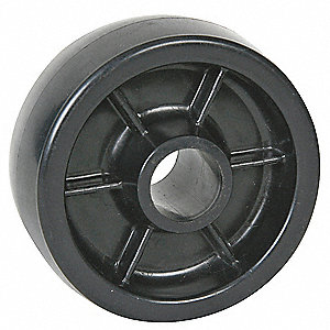 "5"" Caster Wheel, 400 lb. Load Rating, Wheel Width 1-3/8"", Polyolefin, Fits Axle Dia. 1/2"""