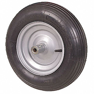 "16"" Light-Medium Duty Ribbed Tread Pneumatic Wheel, 670 lb. Load Rating"