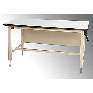 "Hand Crank Workbench, ESD Laminate, 30"" Depth, 30"" to 42"" Height, 60"" Width, 750 lb. Load Capacity"