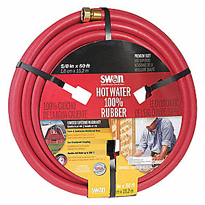 "50 ft. x 5/8"" dia. Water Hose, Reinforced Rubber, 400 psi, Red"