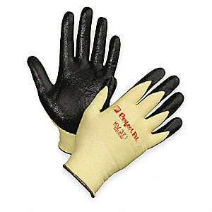 Nitrile Cut Resistant Gloves, ANSI/ISEA Cut Level 2, Kevlar® Lining, Yellow/Black, S, PR 1