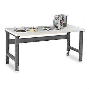 "Workbench, Steel Frame Material, 72"" Width, 30"" Depth  Laminate Work Surface Material"