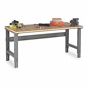 "Workbench, Steel Frame Material, 60"" Width, 30"" Depth  Wood Work Surface Material"