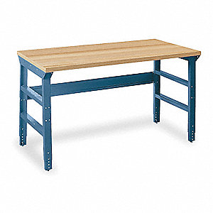 "Workbench, Steel Frame Material, 60"" Width, 30"" Depth  Butcher Block Maple Work Surface Material"