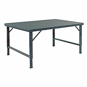 "Adj. Work Table,Steel,96"" W,30"" D"