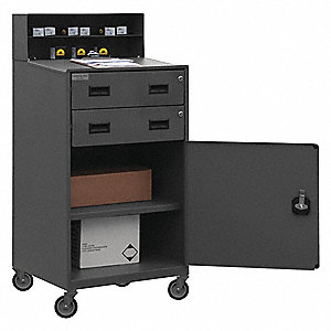 "23"" x 20"" x 51"" 16 ga. Steel Mobile Shop Desk, Gray"