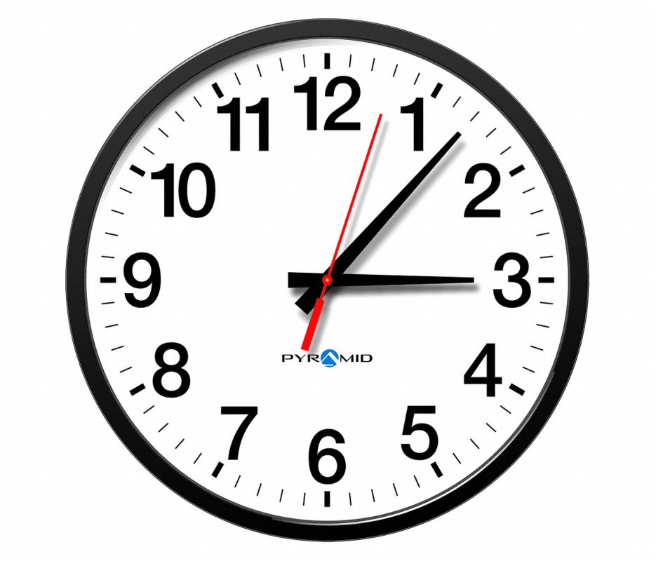 Analog Clock,Wired,12 Hour,13 In