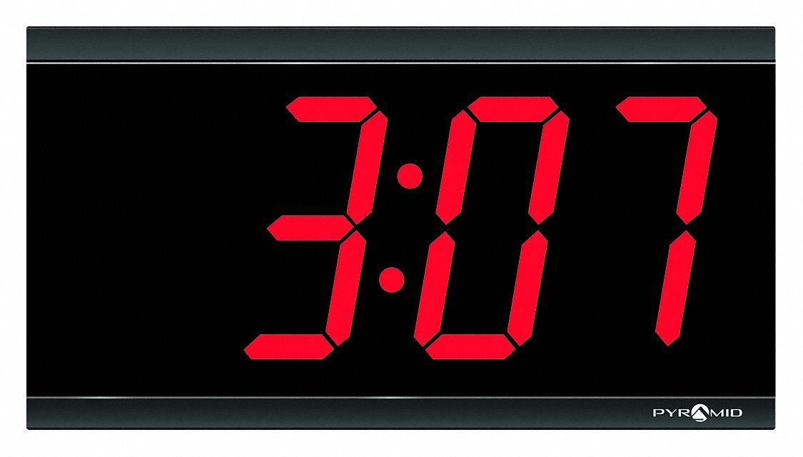 6 1/4 in x 11 1/2 in Rectangle LED Wired Synchronized Digital Clock, Black Plastic Frame