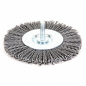 "Shank Wire Wheel Brush, Synthetic, 4"" Brush Dia."