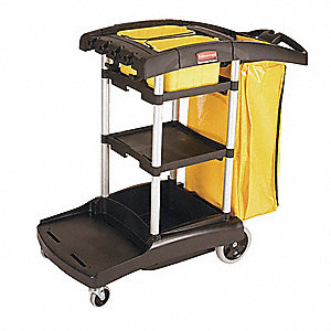 "Black Janitor Cart, 49-3/4""L x 21-3/4""W x 38-3/8""H, Number of Shelves: 1"