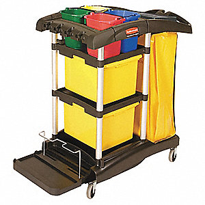 "48-1/4""L x 22""W x 44""H Black Microfiber Janitor Cart, Number of Shelves: 3"