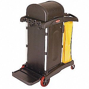 "Black Microfiber Janitor Cart, 48-1/4""L x 22""W x 53-1/2""H, Number of Shelves: 1"