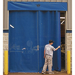Royal Blue Manual Slide Under Header Mount Curtain Door 10 ft.W x 10 ft.H""