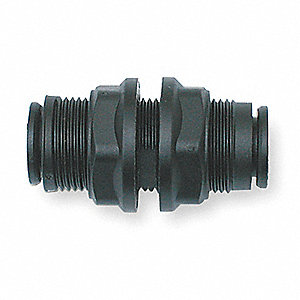 "3/4"" Plastic Bulkhead Union, Black"