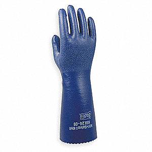 Nitrile Chemical Resistant Gloves, Standard Weight Thickness, Interlock Knit Lining, Size 9, Blue