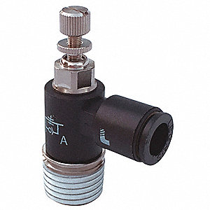 "Elbow Miniature Flow Control, 1/8"" Valve Port Size, 5/16"" Tube Size, Nickel-Plated Brass"