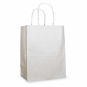 "Paper Bag, White, Twisted Rope Handle, Flat Bottom, Width 4-3/4"", Height 8"", 250 PK"