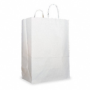 "Shopping Bag, White, Twisted Rope Handle, Flat Bottom, Width 7"", Height 13"", 250 PK"