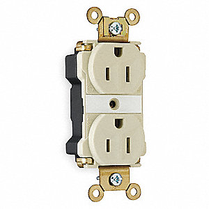 Modular Receptacle, 15 Amps, 125VAC Voltage, NEMA Configuration: 5-15R, Number of Poles: 2