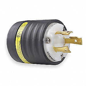 30A Specification Grade Non-Shrouded Ground Continuity Monitoring Plug, Black/White; NEMA Configurat