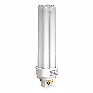18.0 Watts Plug-In CFL, T4 PL, 4-Pin (G24Q-2), 1250 Lumens, 3500K Bulb Color Temp.