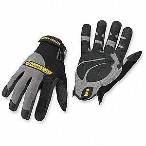 Abrasion Resistant Mechanics Gloves, Synthetic Leather Palm Material, Black/Gray, 2XL, PR 1