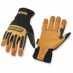 Leather Mechanics Gloves, Tan/Black, XL, PR 1