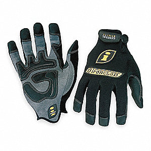 Impact Resistant Mechanics Gloves, Synthetic Leather Palm Material, Black, XL, PR 1