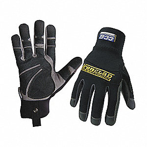 Cold Protection Gloves, Micro Fleece Lining, Shirred Cuff, Black, S, PR 1