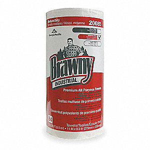 "Brawny® Professional DRC (Double Re-Creped) Shop Towel Roll, 84 Ct. 11"" x 9-5/16"" Sheets, White"