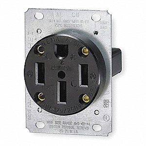 Receptacle, 50 Amps, 125/250V  Voltage, NEMA Configuration: 14-50R, Number of Poles: 3