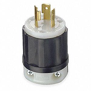 leviton 20a industrial grade non-shrouded locking plug, black/white