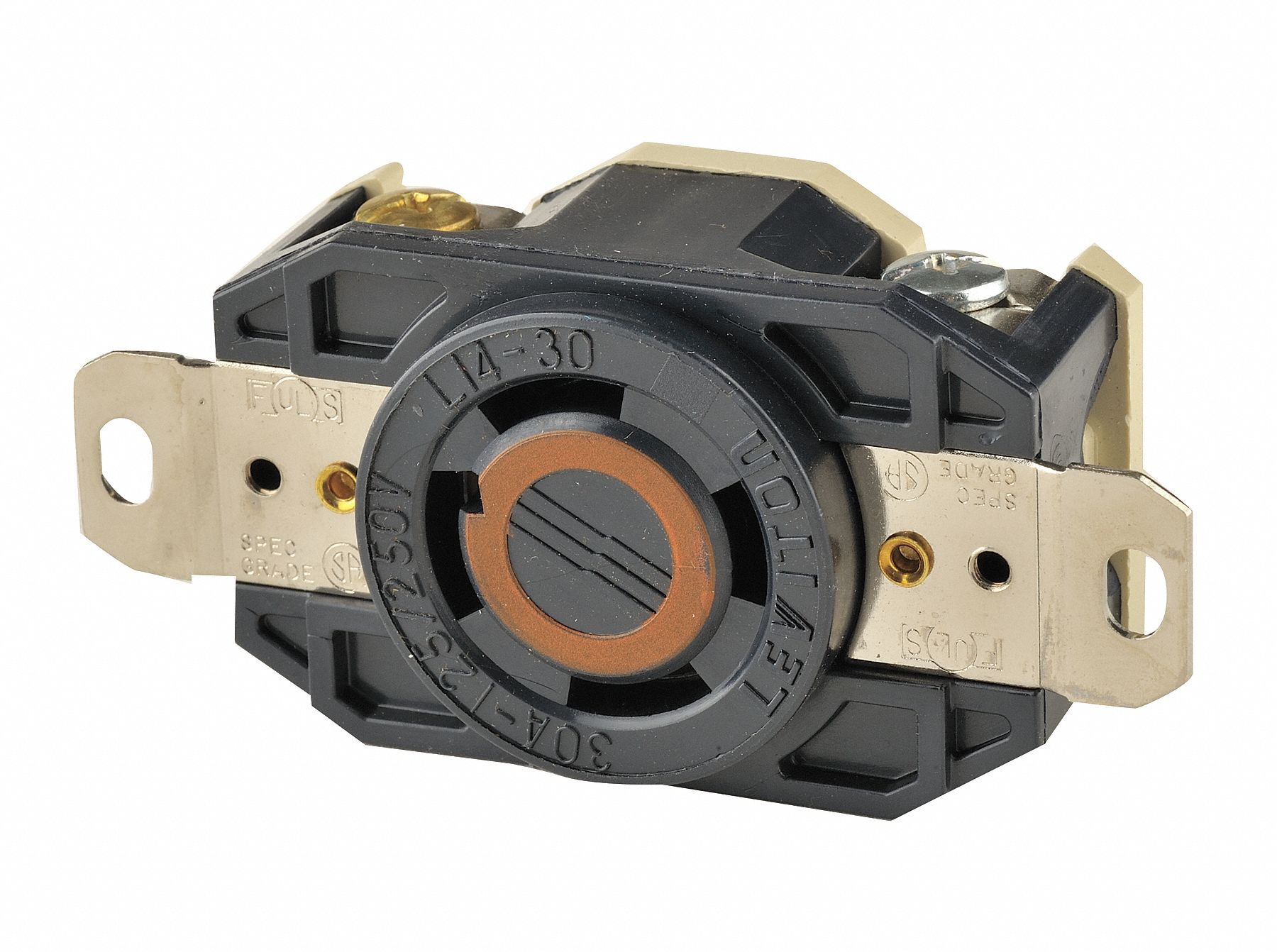 Leviton Black Locking Receptacle  30 Amps  125  250v Ac