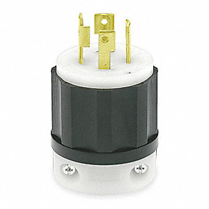 30A Industrial Grade Non-Shrouded Locking Plug, Black/White; NEMA Configuration: L15-30P