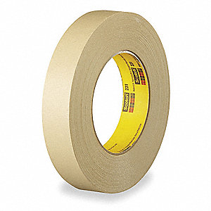 Paper Painters Masking Tape, Rubber Tape Adhesive, 7.60 mil Thick, 18mm X 55m, Tan, 1 EA