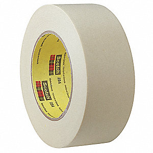 Paper Masking Tape, Rubber Tape Adhesive, 5.90 mil Thick, 48mm X 55m, Tan, 1 EA