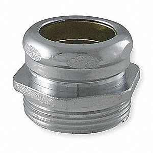 "Brass Chrome Waste Connector, 1-1/2"" x 1-1/4"" Pipe Dia., Slip x MIP Connection - Drains"